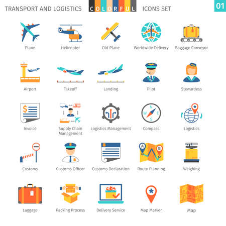customs: Transport And Logistics Colorful Icons