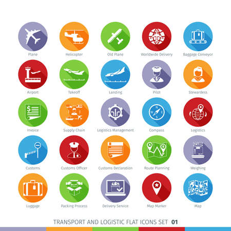 transport icons: Transport And Logistics Flat Icons Illustration