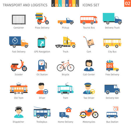 truck driver: Transport And Logistics Colorful Icons