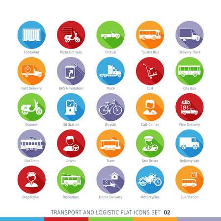 trolleybus: Transport And Logistics Flat Icons Illustration