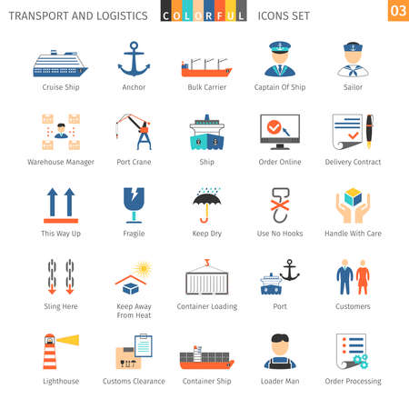 bulk carrier: Transport And Logistics Colorful Icons