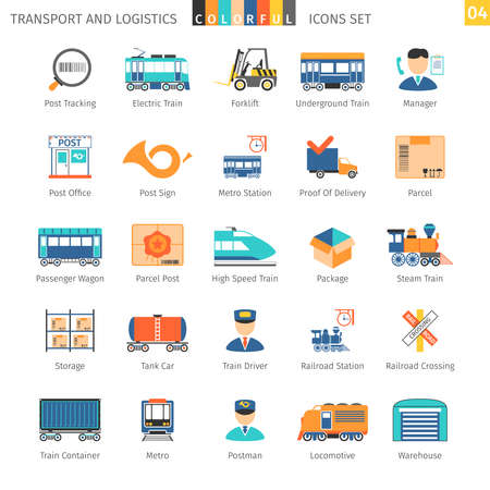 railroad crossing: Transport And Logistics Colorful Icons