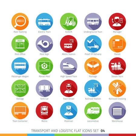 shipment tracking: Transport And Logistics Flat Icons Illustration