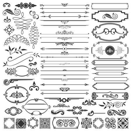 calligraphic design: Calligraphic Design Elements And Page Decoration Illustration