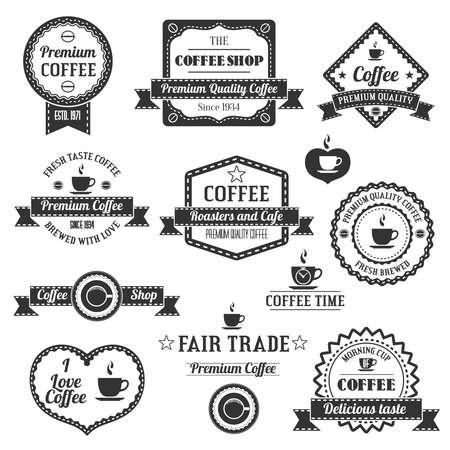 border vintage: Set Of Vintage Retro Coffee Shop Labels