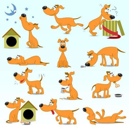 perros graciosos: Vector Conjunto de perros divertidos dibujos animados