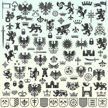 Silhouetten der heraldischen Design-Elemente