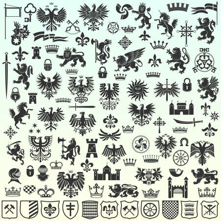 Silhouettes Of Heraldic Design Elements