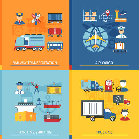 air cargo: Logistic Concept Set With Icons In Flat Style. Railway, Air cargo And Shipping Elements
