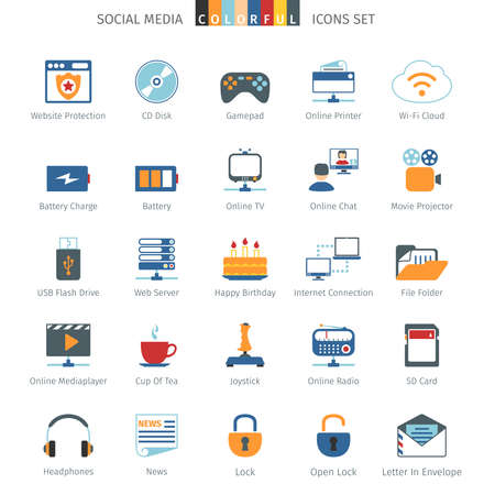 news flash: Social Media And Network Colorful Icons Set
