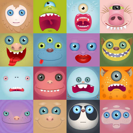 Set Of Funny Cartoon Monster Faces. Square Avatars