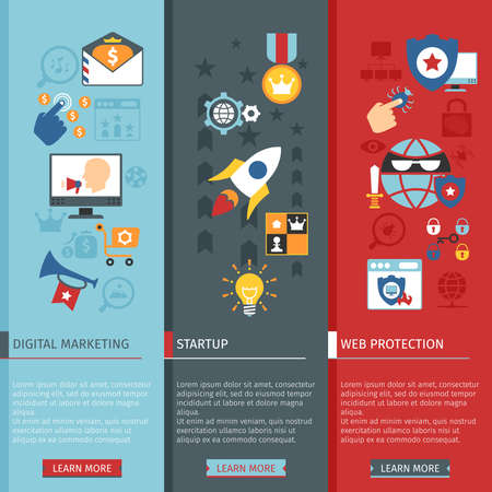 illustrated globe: SEO Vertical Banners Set With Icons In Flat Style. With Startup And Web Protection Elements