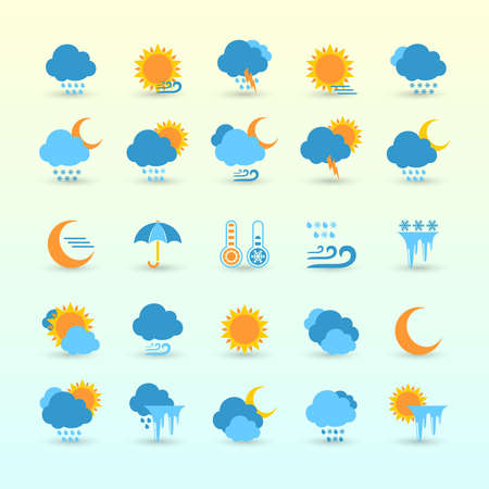 day forecast: Vector Set Of Weather Forecast And Meteorology Symbols Flat Icons Illustration