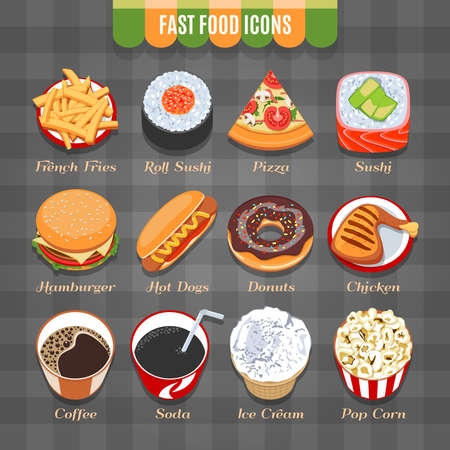 dough nut: Fast Food Isometric Icons Set