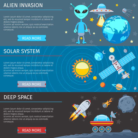 invasion: Colorful Space And Astronomy Flat Banners Set. The Alien Invasion. Solar system. Deep Space Illustration