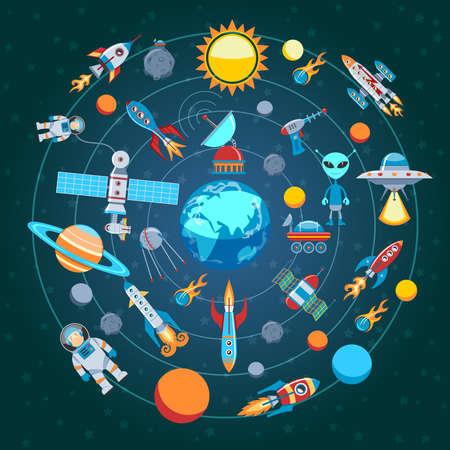 astronomie: Kreis Wohnung Zusammensetzung Der Space Icons