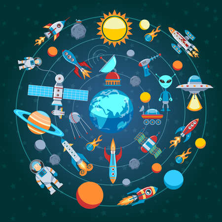 Circle Flat Composition Of Space Icons Illustration