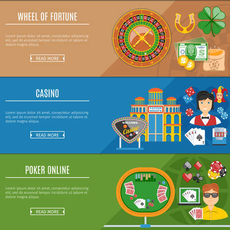 roulette player: Colorful Casino And Gambling Flat Banners Set. Texas Holdem Poker. Try Your Fortune. Welcome To Casino. Illustration