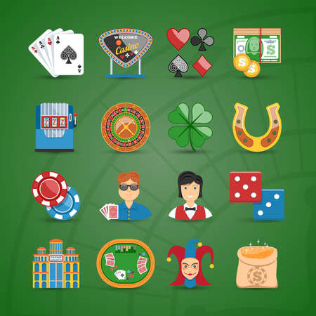 roulette online: Colorful Casino And Gambling Flat Icons Set Illustration