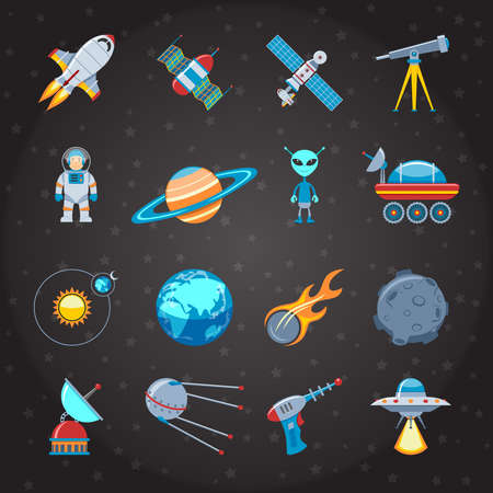 astronaut in space: Space And Astronautics Colorful Flat Icons Set