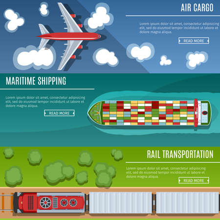airplain: Colorful Transportation Banners Set. Top View. Flat lay Style. Air Cargo. Maritime Shipping. Rail Transportation