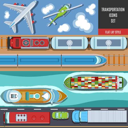 Transportation Icons Set colorati. Vista dall'alto. Stile disteso.