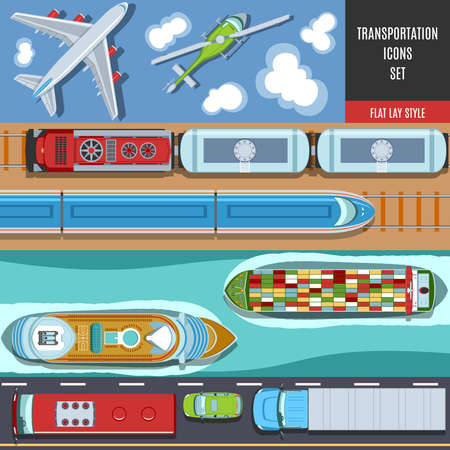 sea view: Transportation Colorful Icons Set. Top View. Flat lay Style.
