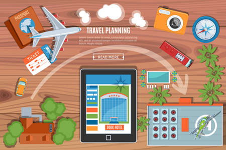 lay: Colorful Travel Planning Banner. Desktop With  Camera, Plane, Passport, Car, Tablet PC, Bus  And Buildings Icons. Top View. Flat Lay Style