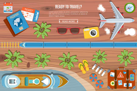 lay: Colorful Travel Banner. Desktop With  Camera, Plane, Passport, Sea Liner,  Bus  And suitcase Icons. Top View. Flat Lay Style