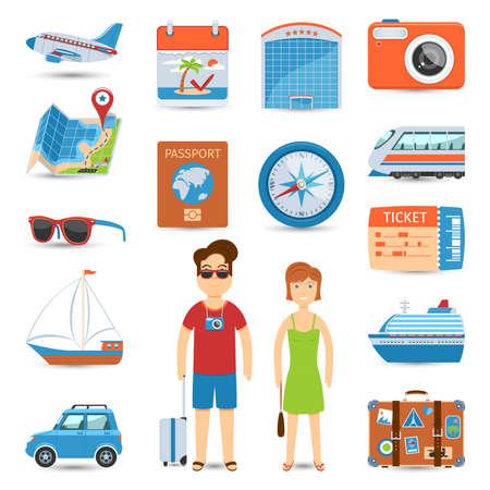 Vacaciones y viajes planos de conjunto de iconos.
