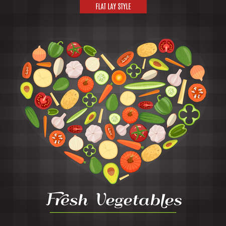 lay: Colorful Heart Shaped Fresh Vegetables Poster In The Flat Lay Style.