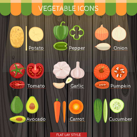 lay: Colorful Vegetables Icon Set In The Flat Lay Style. Illustration