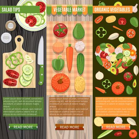 lay: Colorful Fresh Vegetables Banners Set. Salad Tips. Vegetable Market. Organic Vegetables
