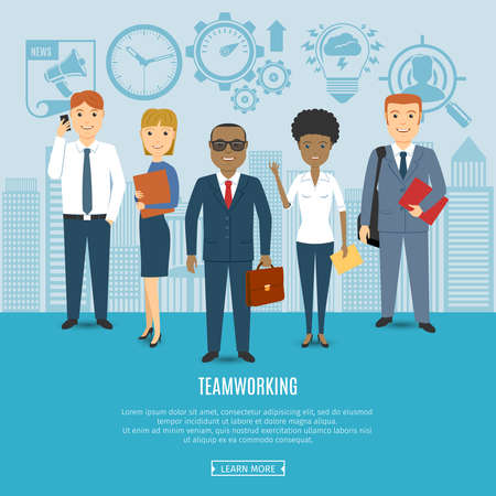 indian professional: Multi Ethnic Team Of Business People Team. Flat Icons Set. Business Concept. Illustration