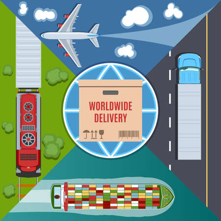air cargo: Colorful Delivery Set. Top View. Flat lay Style. Air Cargo. Maritime Shipping. Rail Transportation. transport truck delivery Stock Photo