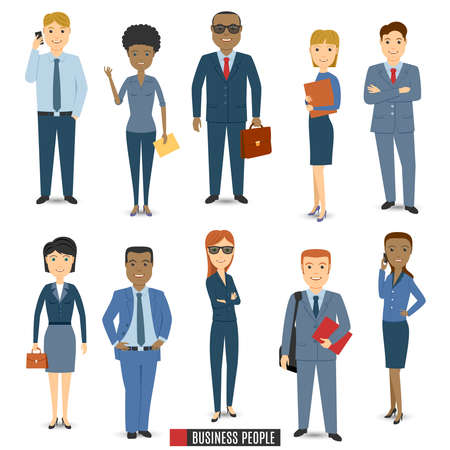 cartoon human: Multi Ethnic Team Of Business People.   Illustration