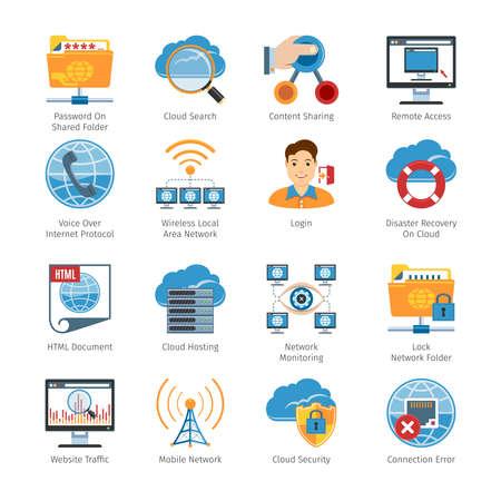 passwords: Internet  And Network Flat Icons Set. Illustration