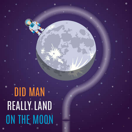 man in the moon: Did Man Really Land On The Moon Flat Design Illustration Concept.