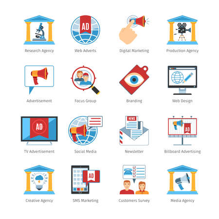 advertisers: Colorful  Vector Set Of  Advertising Media Flat Design Icons. Advertising Media Objects And Web Elements Collection