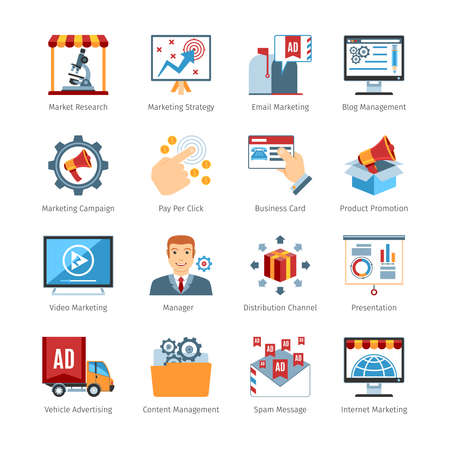advertisers: Colorful  Vector Set Of  Media Advertising Flat Design Icons. Media Advertising  Objects And Web Elements Collection