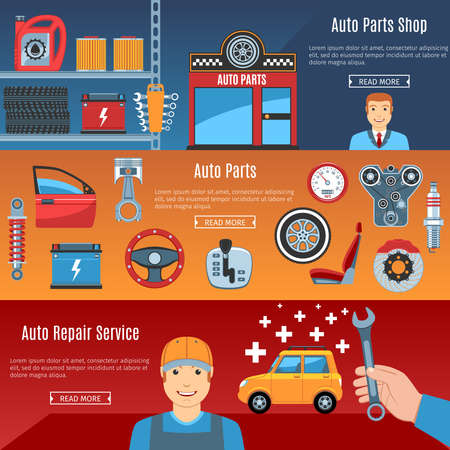 auto filter: Colorful Auto Service Flat Horizontal Banners Set. Auto Parts. Car Repair Service. Automobile Parts Shop. Auto Parts Objects And Web Elements Collection. Vector Illustration