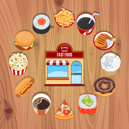wooden circle: Restaurant Concept With Circle Fast Food Products On Wooden Background. Vector Illustration