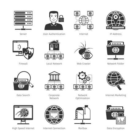 application icons: Network And Internet Black Icons Set. Vector Illustration