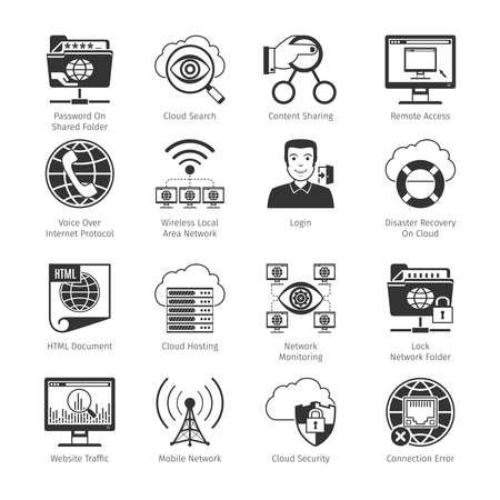 internet network: Internet  And Network Black Icons Set. c