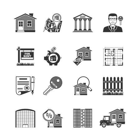 buying: Real Estate Black Icons Set. Vector Illustration