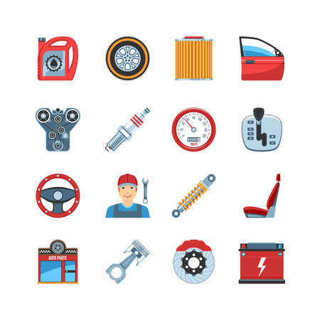 auto filter: Set Of Flat Design Auto Service Car Repair Parts Icons. Isolated Vector Illustration Illustration