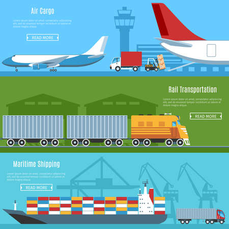 air cargo: Colorful Flat Horizontal Banners Set For Logistic, Transportation And Delivery Projects. Air Cargo, Rail Transportation, Maritime Shipping. Vector Illustration