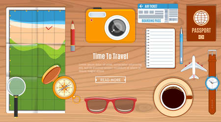 note pad and pen: Travel Planning Concept. compass, cup of coffee, note pad, pen, wristwatch, passport, camera and touristic map on wooden table. Vector Illustration Illustration