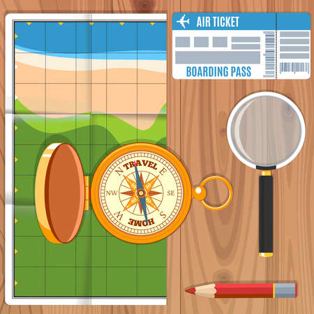 map pencil: Banner Of Travel Planning. compass,  pencil, magnifying and touristic map on wooden table. Vector Illustration Illustration