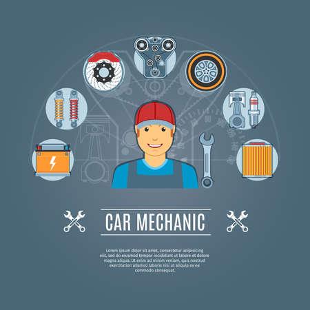 maintenance work: Car Mechanic Concept Icons Set. Vector illustration Illustration